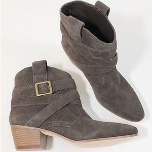 Nine West 7M Lairah Brown Suede Ankle Boots NEW
